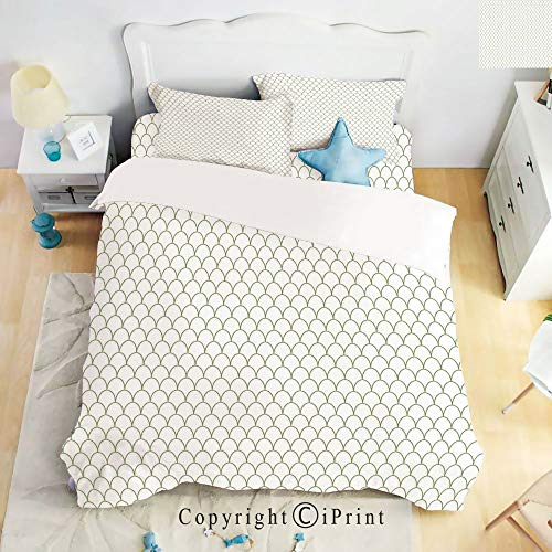 Deep Pocket Bed Sheet Set,Ocean Sea Life Fish Flake Style Geometric Round Wavy Shapes Modern Design,Fern Green and White,Queen Size,Wrinkle Fade Resistant,4-Piece Set