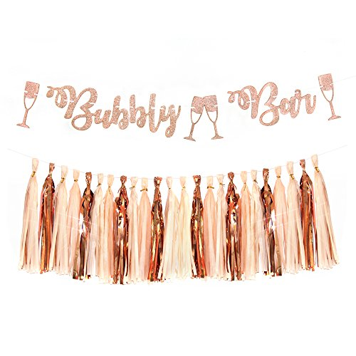 Glitter Rose Gold Bubbly Bar Mimosa Bar Banner Sign Tassel Garland for Bachelorette Bridal Shower Engagement Party Decor Wedding Bar Banner Wedding Party Supplies