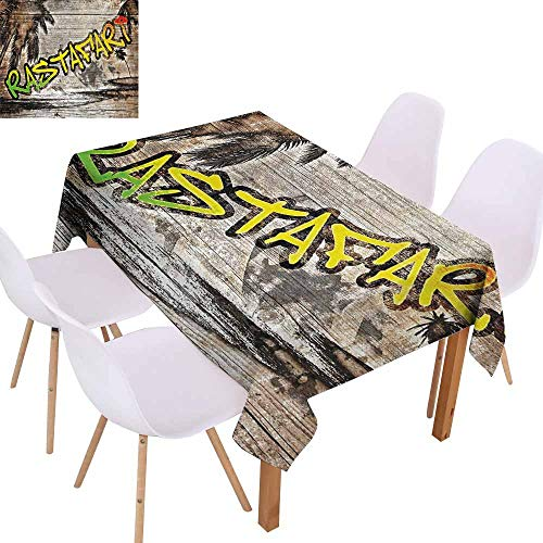 UHOO2018 Rasta,Picnic Tablecloth,Jamaican Reggae Music Icon Inspired Rastafari Street Graffiti Image,for Outdoor and Indoor Use,Brown Pale Green and Yellow,60