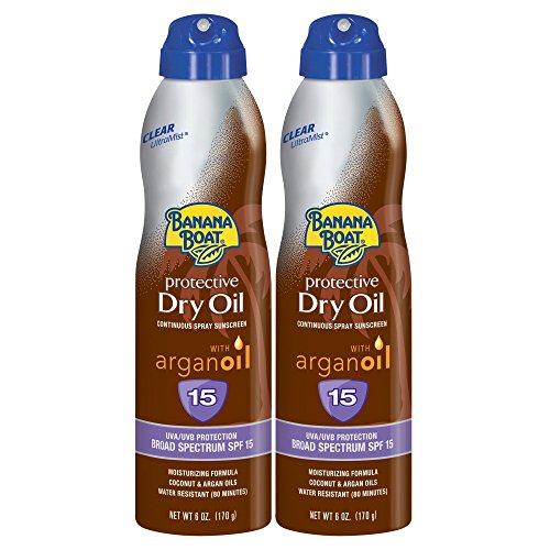 Spray Tanning Lotion - Banana Boat Sunscreen Protective Dry Oil Broad Spectrum Sunscreen Spray, SPF 15, 6 Ounce - Twin Pack