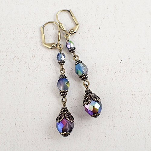 - Colorful Iridescent Czech Glass Long Beaded Earrings with Vintage Style Antiqued Brass