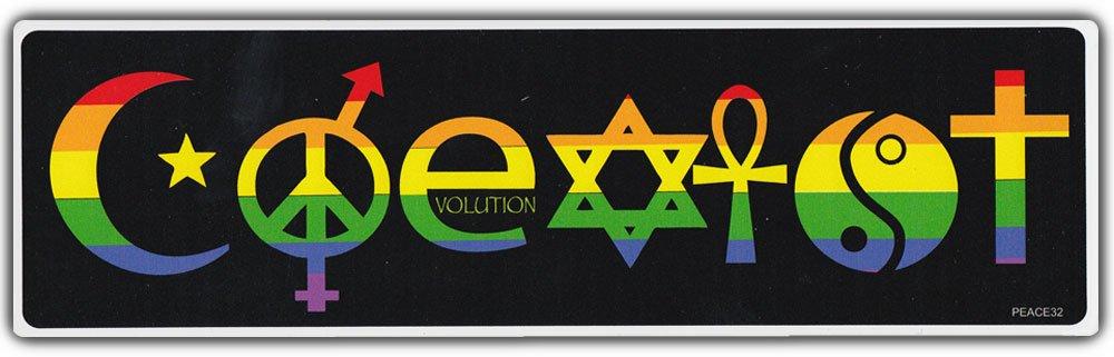 Amazon Bumper Sticker Coexist Symbols Peace Evolution Harmony