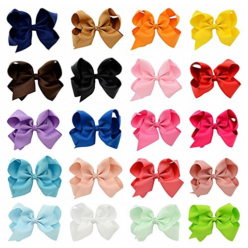 [Welandtech 20pcs Boutique 6 inch Hair Bows Baby Girls Ribbon Alligator Clips] (Princess Tiny Feet Costume)