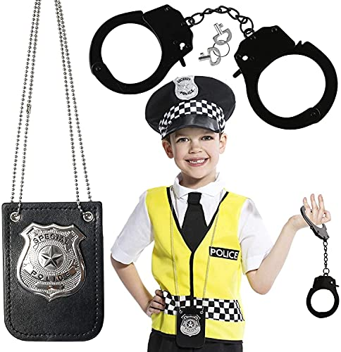 3 otters Police Pretend Play Toy Set, 2PCS Kids Police Gear Toy Handcuffs Halloween Costumes Kids Police Cosplay Birthday Party Gifts