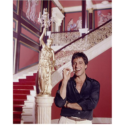 Scarface Al Pacino as Tony Montana Smoking Cigar in Mansion Smiling 8 x 10 Inch Photo
