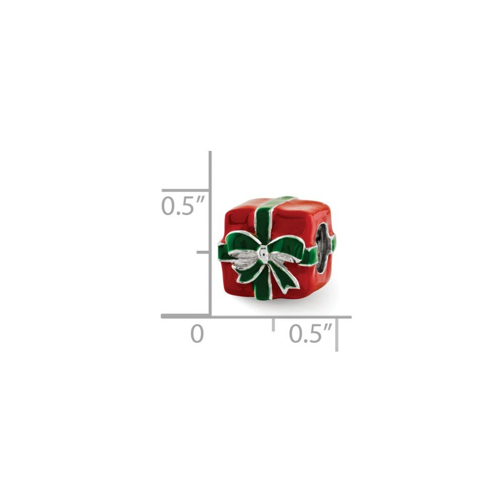 Jewel Tie 925 Sterling Silver Reflections Green /& Red Enameled Present Bead 9.1mm x 9.1mm