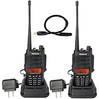 Retevis RT6 IP67 Waterproof and Dust proof Dual band Two Way Radio VHF/UHF 136-174Mhz/400-520Mhz 5/3/1W Handheld Transceiver with Waterproof Earpiece(2 Pack) and Programming Cable(1 Pack)