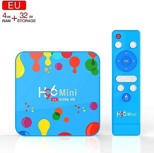 Fanclande H96 MAX + Smart TV Android Box, H96 Mini TV Box RK3318 HD Network Player Android 9.0 4GB + 32GB TV Box: Amazon.es: Hogar