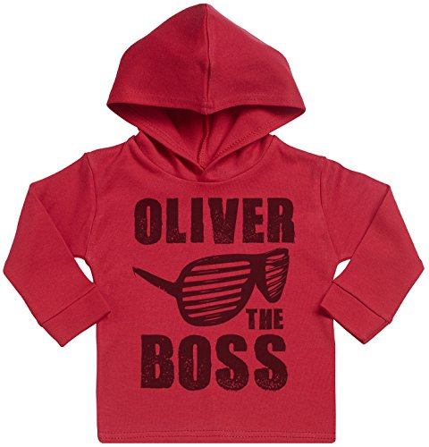 SR - Personalised Name The Boss Print Cotton Baby Hoodie - Personalised Baby Gift - Personalised Baby Clothing - Red - 2-3 years