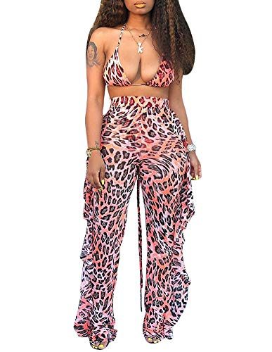 Ophestin Womens Sexy Halter Sheer Bikini Ruffle Long Pants Set 2 Piece Swimsuit Leopard Size XL