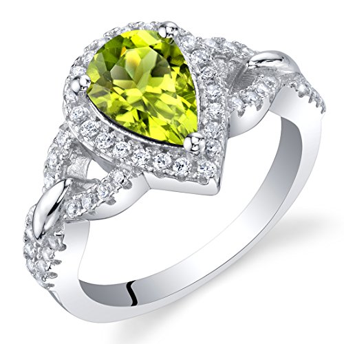 Peridot Sterling Silver Halo Crest Ring Size 6