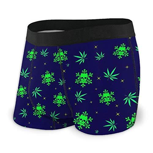 (Men's Boxer Briefs Cannabis Leaf Skull Breathable Hip Underwear with Comfort Waistband Black)