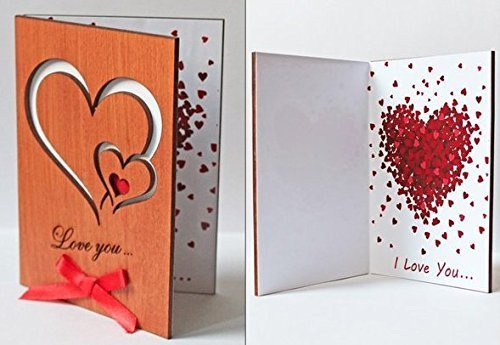 Handmade Real Wood Love You Hearts Unique Fathers Day Wedding Wooden Anniversary Greeting Card Novelty Valentine Unusual Happy Birthday Gift for Him Husband Boyfriend Dad Her Wife Mom Girlfriend (Best Valentines Cards For Him)