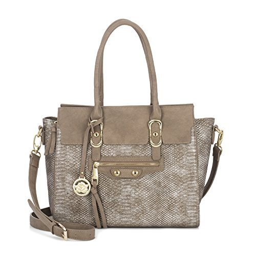 (Sonnet + Rose Women's Handbag Snakeskin Faux Leather with Gold Metal Accents Large)