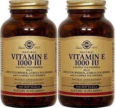 Solgar - Vitamin E 1000 IU (d-Alpha Tocopherols & Mixed Tocopherols) 100 Mixed Softgels- 2 Pack