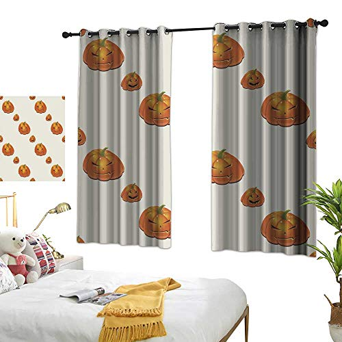 wwwhsl Cloth Curtain Halloween Background with Pumpkins Blackout Living Room/Bedroom Window Curtains W96.4 xL72 ()