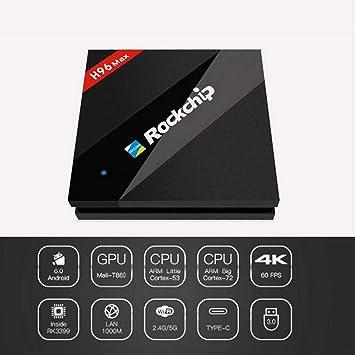 LOISK Android 6.0 TV Box, H96 MAX Smart Box 4GB RAM 32GB ROM RK3399 Six Core 2.0G (DualCortex-A72 QuadCortex-A53) 4K H.265 Resolución 100M LAN Enternet 2.4 / 5GHz Reproductor de Video WiFi: