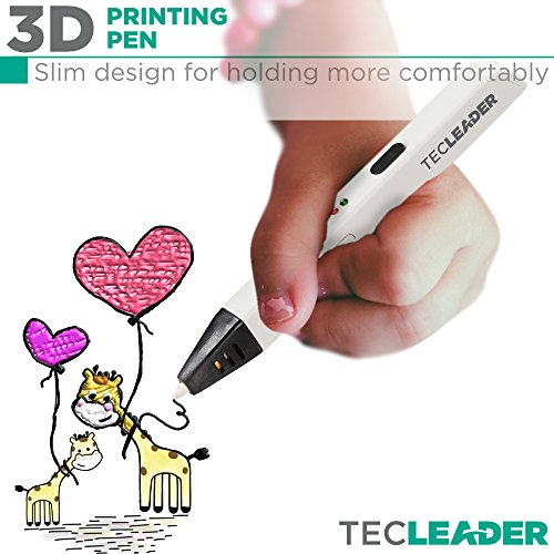 TECLEADER | 3D Printing Pen for Kids & Adults | Perfect Educational Toy for 3D Modeling, Printing and Doodling | Free Stencil EBook, 3 ABS Filaments & User Manual | Best Birthday Gift | Slim Design by TECLEADER (Image #4)