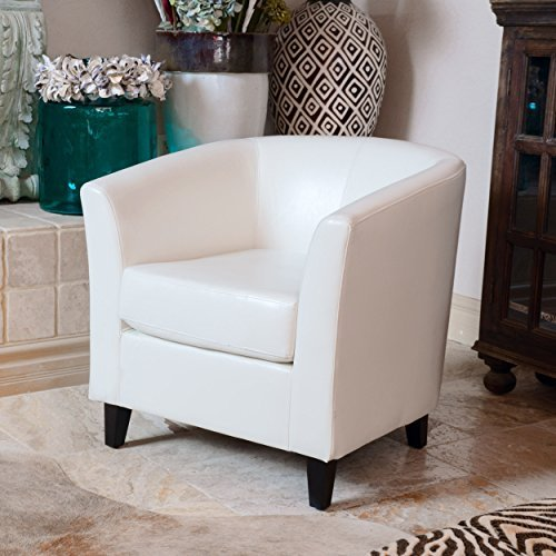 Christopher Knight Home 206537 Preston Bonded Leather Club Chair, White