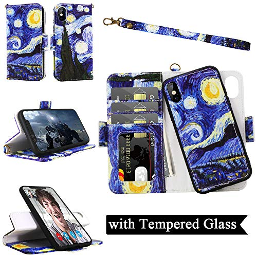 iPhone Xs Max Wallet Detachable Case with Wrist Strap, Magnetic Closure, Card Slot, Kickstand - Samgg Luxury Flip Folio Leather Case with Tempered Glass for Apple 6.5 inch iPhone Xs ()