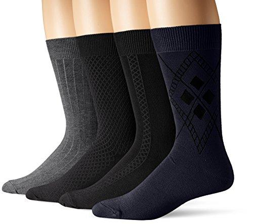 Van Heusen Men's 3+1 Bonus Pack Solid Textures Dress Socks, Navy/Dark Grey Heather/Black, 10-13