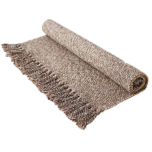 Wolala Home 100% Cotton Hand-Woven Rug Mat for Indoor/Outdoor,Tassels Design Blanket for Chair, Couch, Picnic, Camping, Beach, Everyday Use Floor Mat Kitchen Area Rug (2'x4'3, Light Brown)