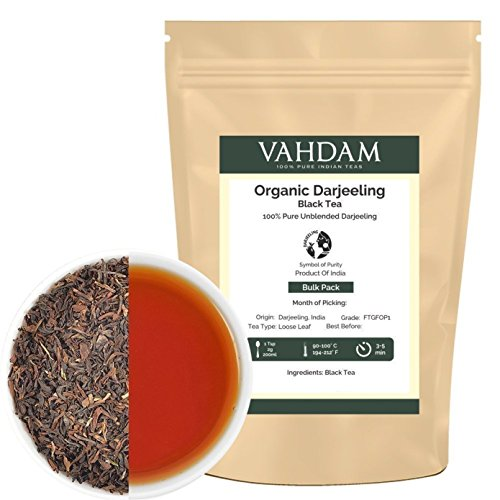 Organic ​Darjeeling​ Black Tea Leaves​ from Himalayas (200+ Cups), 100% Certified Pure Unblended Darjeeling, Packed at Source in India, 16-Ounce Bag