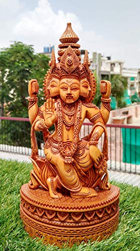 Lord Brahma Wooden Hand Carved Statue Indian God Figure Home Decorative