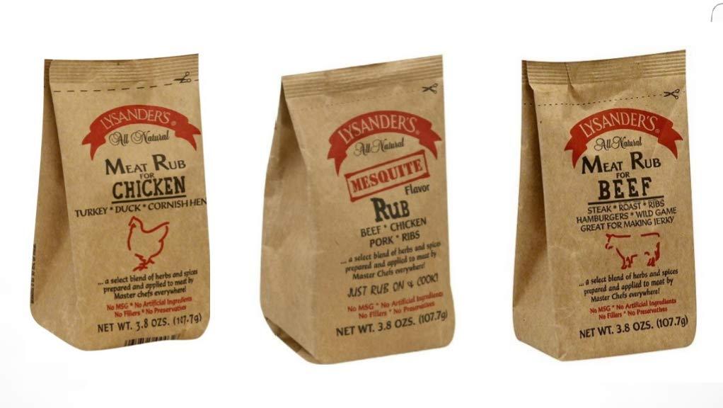 Lysander's All Natural Rub Combo 6 Pack (2) Chicken Rub (2) Mesquite Rub (2) Beef Rub all 3.8oz packs