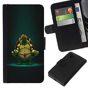 JackGot ( Tortuga Guerrero ) LG Nexus 5 D820 D821 la tarjeta de Crédito Slots PU Funda de cuero Monedero caso cubierta de piel