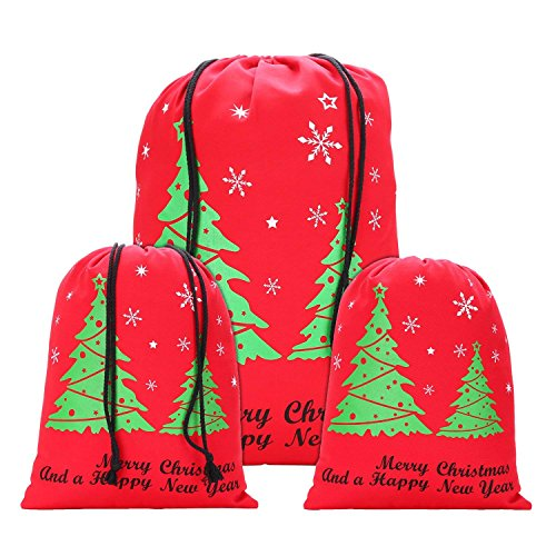 Canvas Christmas Drawstring Gift Bag - Great for Large and Small Holiday Favors - Designed for Women, Kids, and Men - The Perfect Santa Sack for a Merry and White Christmas - Quality Material ()
