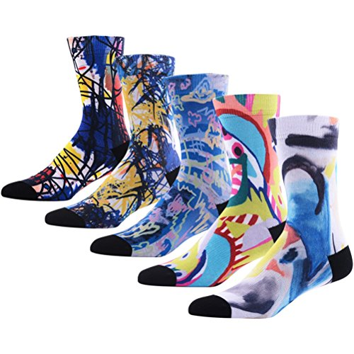 Funky Crew Socks for Men, MEIKAN Coolmax Digital Print Novelty Cute Vogue Pattern Colorful Mid Calf Socks , 05 Pairs Color 5,One Size