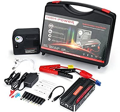 RioRand 20000mAH Multi-Function Car Jump Starter Kit with Built-in Survival Hammer, Blade, LED Torch Flashlight and 150 PSI Air Compressor Tire Pump