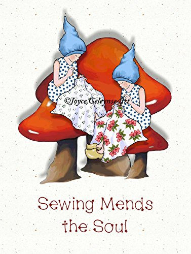 Sewing Gnomes on Toadstools, Art Print, Sewing Mends the Soul, 8