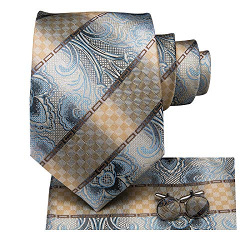 Dubulle Mens Silk Retro Paisely Tie and Hanky Cufflinks Set Necktie with Pocket Square