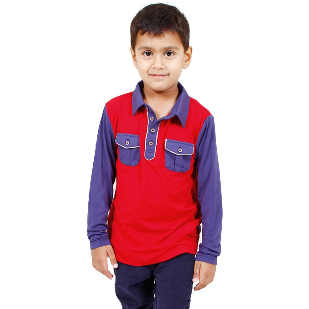 1b93af5d1 Fore Axel and Hudson Boys  Cotton Colorblock Red Polo - 6-7 y  Amazon.in   Clothing   Accessories