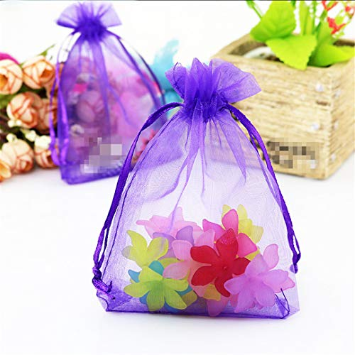 10Pcs 15X20 17X23 20X30cm Wedding Gifts Bags Birthday Party Supplies Organza Bags Jewelry Packaging Bags Display Jewelry Pouches D12 Purple 9x12cm Organza Bags