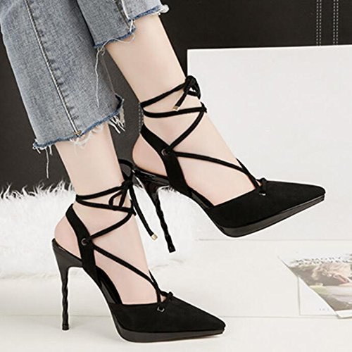 Strap Partie Ankle Noir Ladies Heels Spiky Court Pompes Banquet Ceinture Nightclub Straps Noeuds Sexy Sandals Voyage Crossover wCH8OqH