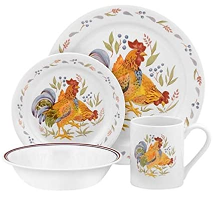 Corelle Impressions 16-Piece Stoneware Mugs Country Morn  sc 1 st  Amazon.com : chicken pattern dinnerware - pezcame.com
