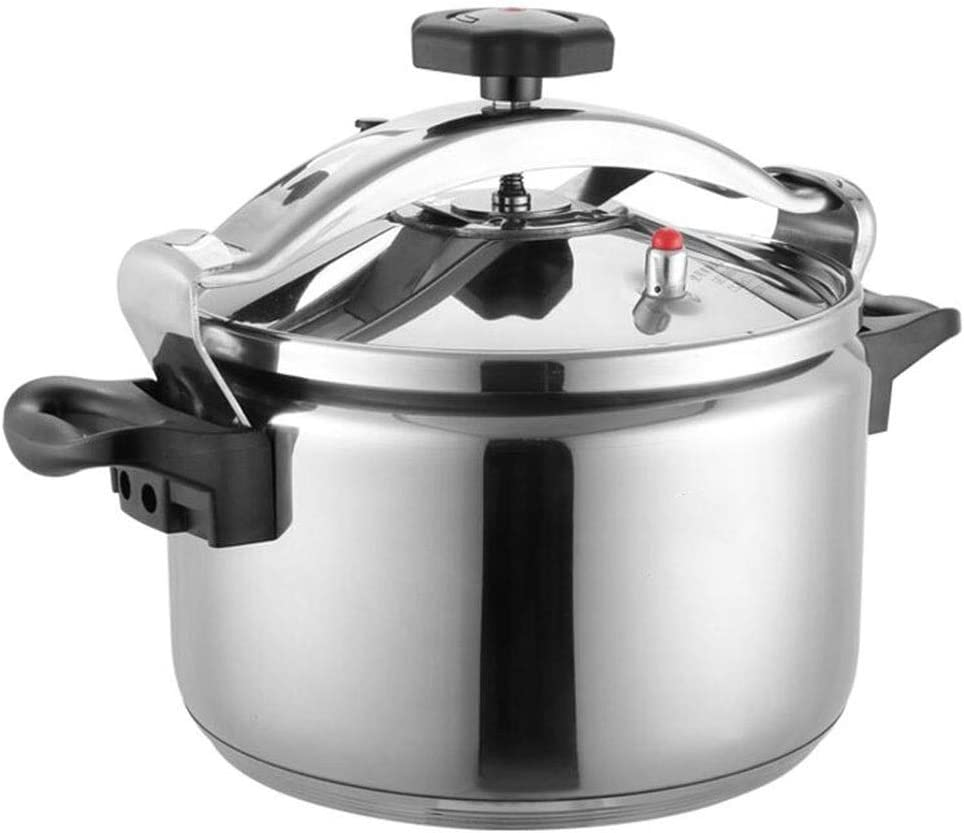 Pressure cooker stainless steel commercial large-capacity restaurant home kitchen gas induction cooker general pressure cooker 5-40L (Color : Silver, Size : 9L)