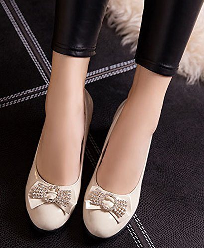Slip Shoes Beige Dressy Top Mid Heels Chunky With Toe Pumps IDIFU Low Round 3 Womens Bows On ZUYx7Y