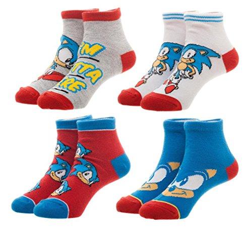 Sega Sonic The Hedgehog Youth Ankle Socks 4 PAIRS -