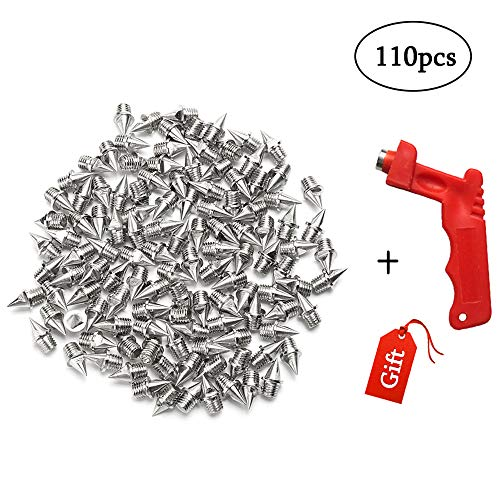 Augsun 110pcs 1/4 Inch Stainless Steel Track and Cross Country Spikes with Spike Wrench, Replacement Spikes for Sprint Sports Short Running Shoes ()