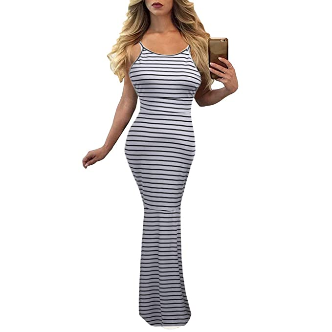 f2971c937a Women Stripe Sexy Strap Backless Summer Boho Maxi Long Evening Party Dress  (S, Black
