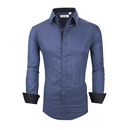 Markalar Mens Casual Button Down Shirts Regular Fit Long Sleeve Cotton Dress Shirt,DotBlue,XXL -