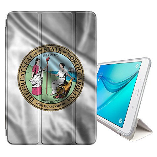 (FJCases North Carolina The Tar Heel State Waving Seal Flag Cover Stand + Back Case with Auto Sleep/Wake for Samsung Galaxy Tab E Lite 7