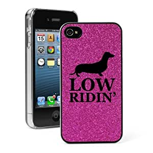 Hot Pink Apple iPhone 4 4S 4G Glitter Bling Hard Case Cover G563 Low Ridin Dachshund Puppy Dog