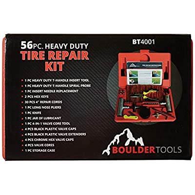 Boulder Tools - Heavy Duty Tire Repair Kit for Car, Truck, RV, Jeep, ATV, Motorcycle, Tractor, Trailer. Flat Tire Puncture Repair Kit: Automotive