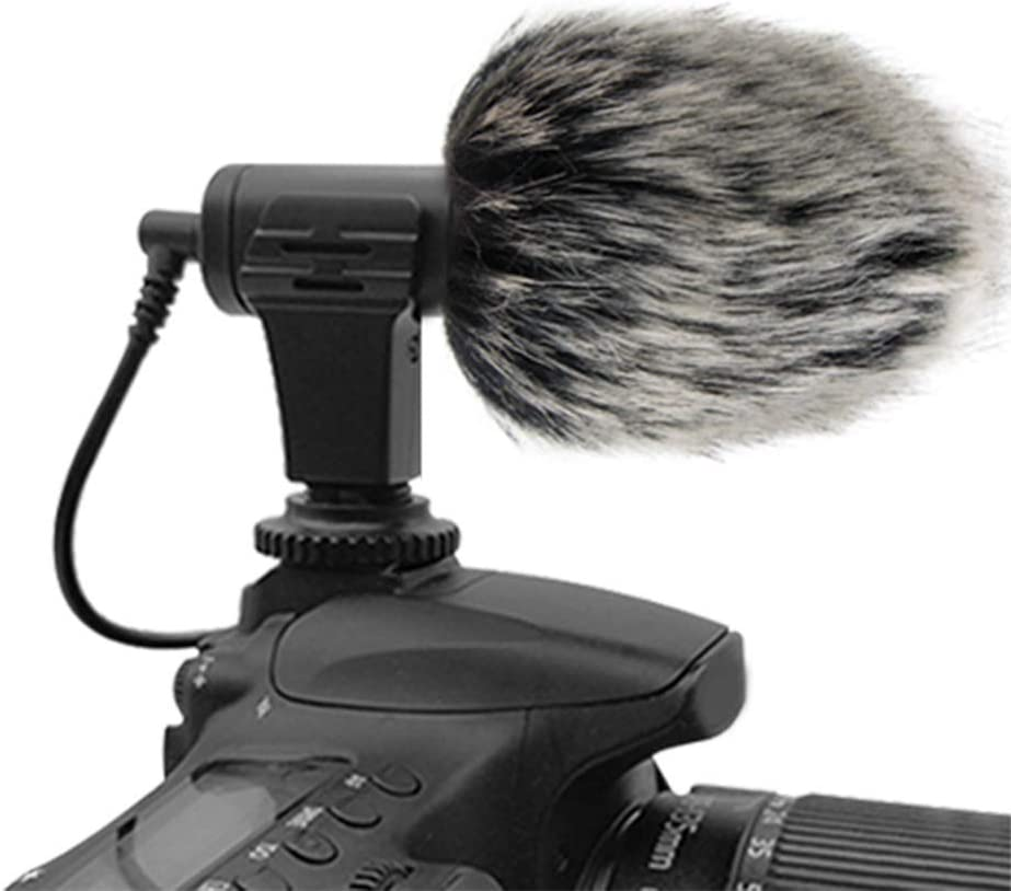 Shotgun Camera Photography Interview Mic Microphone Professional Recording On-Camera Mic for Nikon Canon DSLR Camera with Fur Wind Shield