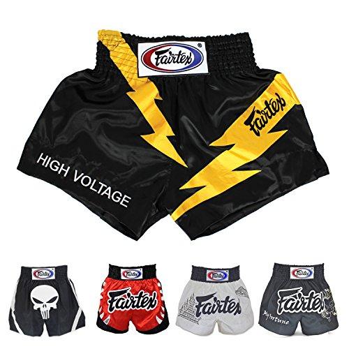 Fairtex Muay Thai Boxing Shorts (Black High Voltage BS0656,L)
